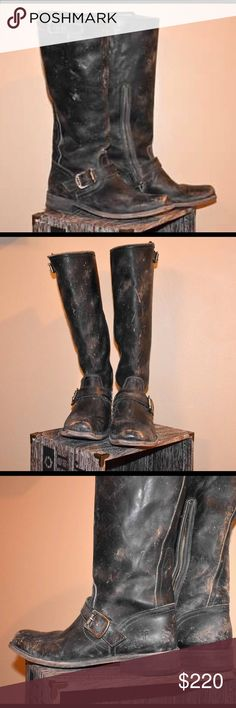 FRYE Distressed Boots I LOVE these!!!   I am in no hurry to part with these but figure since I wear on occasion only, would give you a chance at these.  FRYE Distressed and seriously amazing classic pair of Boots.  Retail $349 - purchased 2016 - Do not have box or tags anymore.  These are a snug 10, those familiar will be ready to break these in!  *** Photos have been updated today, 1/25/17. Frye Shoes Winter & Rain Boots
