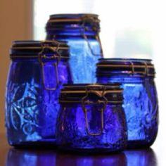 Cobalt blue glass jars with snap-flip lids. Bottles And Jars, Glass Bottles, Glass Canisters, Canning Jars, Mason Jars, Azul Anil, Azul Indigo, Indigo Blue, Indigo Eyes
