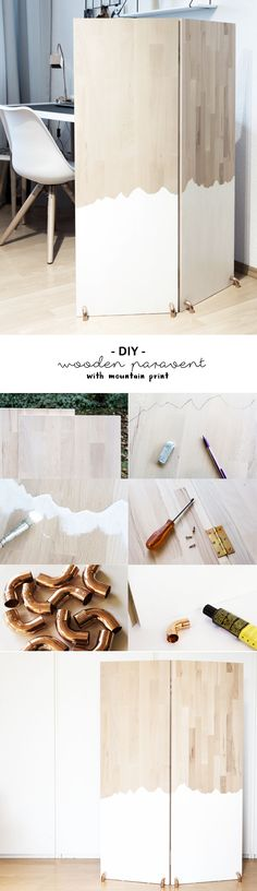 DIY white dipped wooden divider