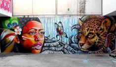 """Farid CRIBE En otro hostal, junto a las artistas norteamericanas Danielle y Christy, Farid pintó """"El espejo del alma"""", un mural en el que una mujer ve en sí misma el espíritu de un jaguar. La obra estuvo basada en el relato de una habitante del lugar."""