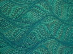 Hand Marbled Paper  Blues aquas & more Waving by LosingHerMarbles, $8.00