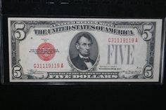 1928 Series C Red Seal United States 5 Dollar Bank Note by pasttimejewelry, $38.00