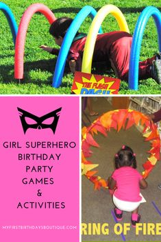 girl superhero birthday party, superhero party games, superhero birthday activities #superheroparty #superherobirthday Superhero Party Activities, Superhero Party Food, Birthday Activities, Kids Party Games, 4th Birthday Party For Boys, Birthday Party Games, Birthday Ideas, Twin Birthday, Summer Birthday