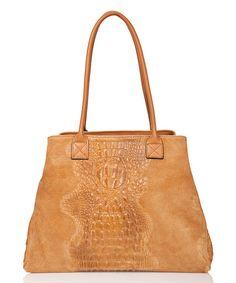 Look at this #zulilyfind! Cuoio Crocodile-Embossed Leather Shoulder Bag by Edmond Louis #zulilyfinds