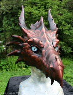 leather dragon mask, handmade, PA renfest