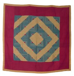 "LANCASTER COUNTY, PENNSYLVANIA AMISH WOOL LOG CABIN QUILT IN ""BARN RAISING"" PATTERN, CIRCA 1900.  Sold: 936.00   67 x 67 inches."