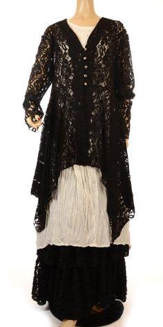 Escaladya Stunning Intricate Black Lace Lagenlook Jacket