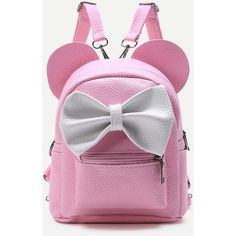 Pink Ear Shaped PU Backpack With Contrast Bow (€6,90) ❤ liked on Polyvore featuring bags, backpacks, pink, rucksack bag, daypack bag, bow backpack, pink backpacks and pu bag