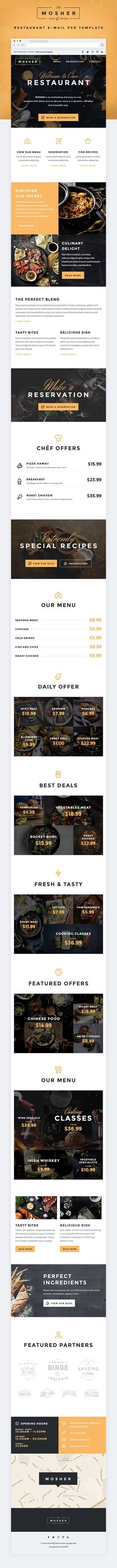 Buy Mosher - Restaurant E-newsletter PSD Template by ThemeMill on GraphicRiver. Mosher – Restaurant E-newsletter PSD Template Mosher is a high-quality designed multipurpose e-newsletter PSD. Email Template Design, Email Templates, Newsletter Templates, Newsletter Layout, Email Newsletter Design, Newsletter Ideas, Email Newsletters, Minimal Web Design, Wireframe