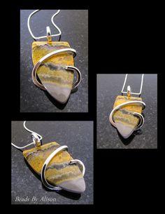 Bumble Bee Jasper sterling silver pendant. Pendants - Beads By Alison