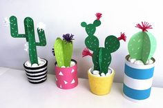 Gallery of cactus de papel missdiy - how to do paper mache Kids Crafts, Diy And Crafts, Craft Projects, Diy Paper Crafts, Cactus Craft, Cactus Decor, Cactus Centerpiece, Papier Diy, Paper Plants