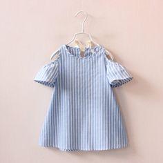 2017 Hot Summer UK Infant Kids Girls Toddler Baby Sleeveless Princess Dress Flower Girls Dresses Blue Striped Clothes For Girls