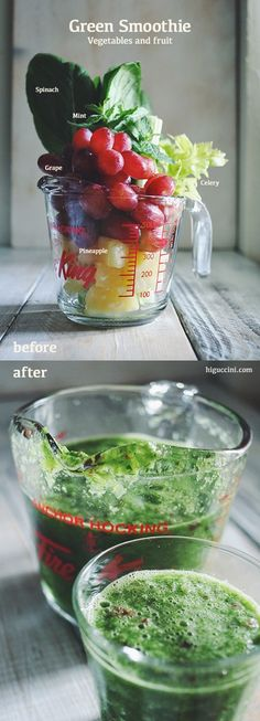 Green Smoothie | higuccini.com spinach, mint, Grape Celery, Pineapple, and water