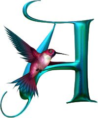 A from the Shimmering Hummingbird Set. Alphabet Letters Design, Fancy Letters, Hand Lettering Alphabet, Alphabet Art, Calligraphy Alphabet, Monogram Letters, Creative Lettering, Lettering Design, Hummingbird Art