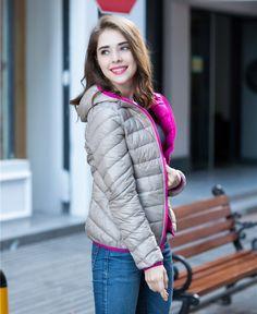 Woman 90% White Duck Down Jacket Hooded Ultra Light Down Jackets Reversible Female Parkas Plus size  #bag #highschool #shoulderbags #fashion #handbags #bagshop #kids #backpack #Happy4Sales #YLEY #WomenWallets #L09582  #NewArrivals