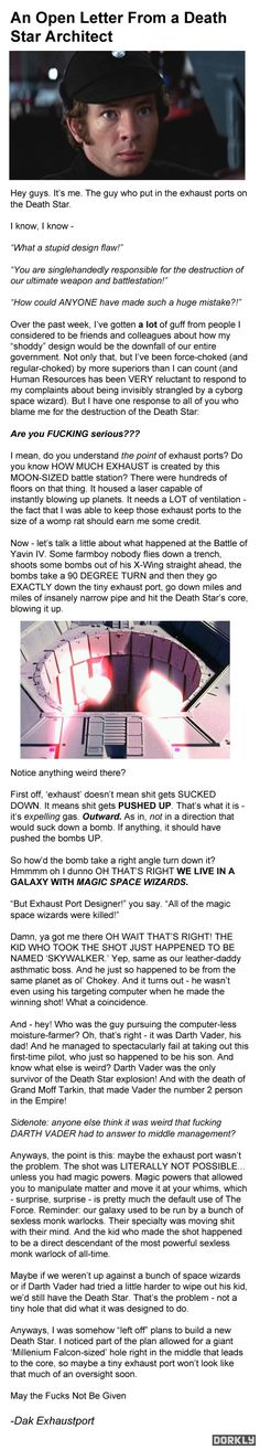 "haha, great ""response from guy who designed the infamous exhaust port on Death Star"""