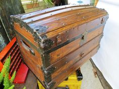 Antique Wooden Camel Back Steamer Trunk: Sturdy Metal-Reinforced 1800s Victorian Travel Chest with Excellent Patina & Divided Interior