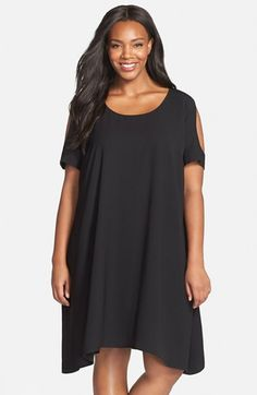 dad64153331 Sejour Cold Shoulder Swing Dress (Plus Size) available at  Nordstrom Plus Size  Black