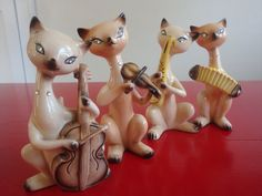 Vintage Siamese Jazz Cats Set of 4 by PlayfullyVintage on Etsy,