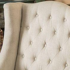 High Back Fabric Chair Beige Tall Upholstered Elegant Living Room Home Furniture #HighBackFabricChair