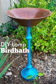 ** DIY Thriftcycled Lamp Birdbath @blogher