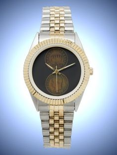 Unisex Two-Tone Bracelet Watch with Coin Face Napoleon 1813 - Head & Crown