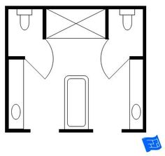 His and hers master bathroom floor plan with two toilet rooms.