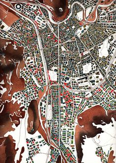 """geo-graphique: """" Grenoble drawing watercolor on paper - Fabrice Clapies """" Cool Patterns, Print Patterns, Urban Mapping, Map Diagram, Map Quilt, Textile Pattern Design, Model Sketch, City Maps, Architecture Drawings"""