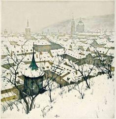 Tavik Frantisek Simon - Mala Strana in Snow Watercolor Architecture, Watercolor Landscape, Landscape Paintings, Watercolor Art, Landscapes, Art And Illustration, Illustrations, Figure Painting, Painting & Drawing