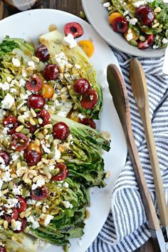 Grilled Romaine Salad with Cherries, Feta and Toasted Pine Nuts