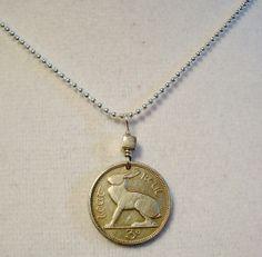 Irish Jewelry - Coin Jewelry - Vintage IRELAND RABBIT coin - Irish hare - harp - CELTIC - eire - Year of the Rabbit on Etsy, $14.95