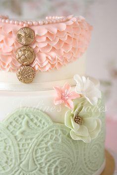 Pink and Mint color cake. Close-up by Nadine's Cakes & My little white home, via Flickr
