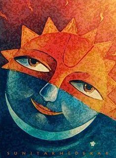 Sun Moon Stars, Sun And Stars, Textile Patterns, Textile Art, Countryside Landscape, Sun Art, Happy Paintings, Art Clipart, Paint Shop