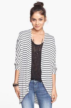 Casual stripe dolman cardigan for fall.