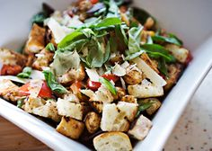 Panzanella Salad recipe - Cubes of toasted crusty bread, tomatoes that I grew myself, hunks of mozzarella cheese, fresh basil, olive oil, and balsamic vinegar.  What is not to love?  #brunch #salad