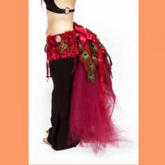 Tribal Belly Dance Jewelry Peacock Bustle Belt for Burlesque or Fusion Belly Dance