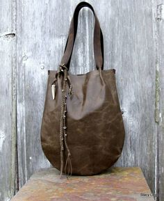 Rustic Leather Tote in Olive Grey Pull Up Hide