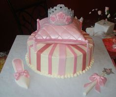 cinderella baby shower cake | Another pretty princess cake with a Cinderella slipper, a magic wand ...