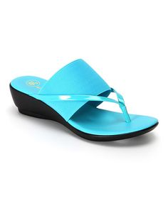 Look what I found on #zulily! Turquoise River Thong Stretch Wedge Sandal #zulilyfinds