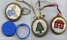 DIY Cross Stitch Bottle Cap Ornaments or Jewelry. Bottle caps from milk, orange juice etc... serve as the base for these. I've seen these on Etsy as pendants and brooches going quite high prices and always wondered how I could this. Now I know. Wonderful tutorial. #diy #crafts #ornaments #cross_stitch #embroidery #jewelry #pendants #brooches #fabric #bottle_caps #upcycle #recycle: