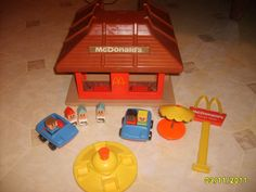 Playskool McDonald's, I remember the little yellow trays that would slide on the counter.