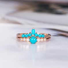 Turquoise Engagement Ring Rose Gold Bridal Set Birthstone December Diamond Cluster Ring Wedding Stacking Promise Bohemian Mother Customize Engagement Ring Product Introduction *Set in solid Rose Gold Main Stone** *Type:Turquoise mm *Color:Blue Pink Sapphire Ring, Sapphire Jewelry, Gold Diamond Wedding Band, Rose Gold Engagement Ring, Cluster Ring, Porcelain Jewelry, Ring Verlobung, Bridal Jewelry, Turquoise