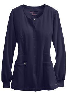 Greys Anatomy Signature round neck warm up scrub jacket. Main Image
