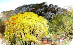 (North Korea) Mt Geumgang by Song Si-yeop (1934-   ). Korean painting.