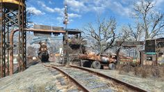 Oberland Train Station and Market Mall (Created On Fallout Mods, Fallout 4 Settlement Ideas, Bethesda Games, Fall Out 4, Train Station, Beautiful World, Apocalypse, Railroad Tracks, Ps4
