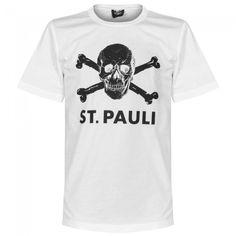 T-Shirt del St Pauli con calavera - Blanco/Negro #stpauli #calavera #piratas