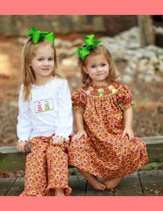 My sister and I wore stuff just like this when we lived in TX.  Brings back memories of our bow collection and matching outfits.