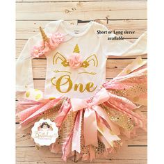 ~~~ Pink and gold Unicorn tutu set ~~ Please read entire description before purchasing for important information. ITEM DESCRIPTION: ~~ Embellished Bodysuit with Unicorn heat transfer applique ( bodysuits I use are from Carters brand and they run true to size ) Sizes from 2T