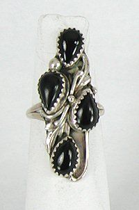 Authentic Navajo Sterling Silver and Black Onyx ring