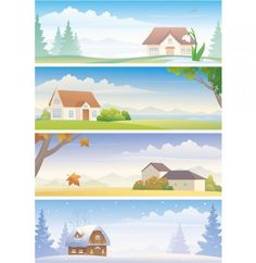 4 Season Country Home Scene Vector Backgrounds - http://www.dawnbrushes.com/4-season-country-home-scene-vector-backgrounds/
